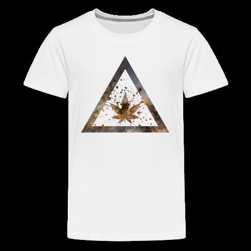 Galaxy Weed Marijuana Triangle with Splashes - Teenager Premium T-Shirt