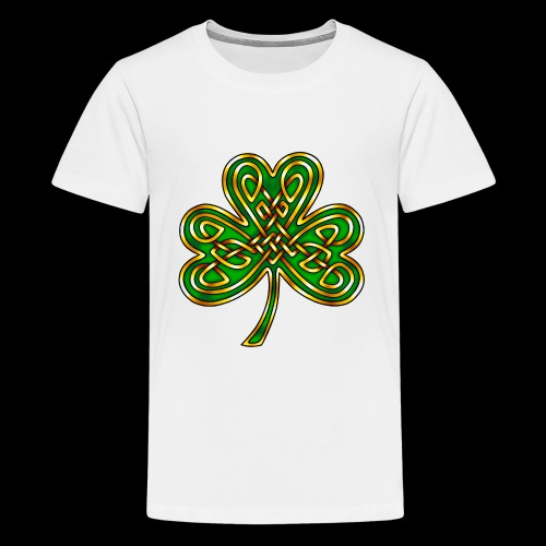 Celtic Knotwork Shamrock - Teenage Premium T-Shirt