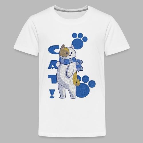 Cute cat with scarf, funny cat with scarf. - Camiseta premium adolescente