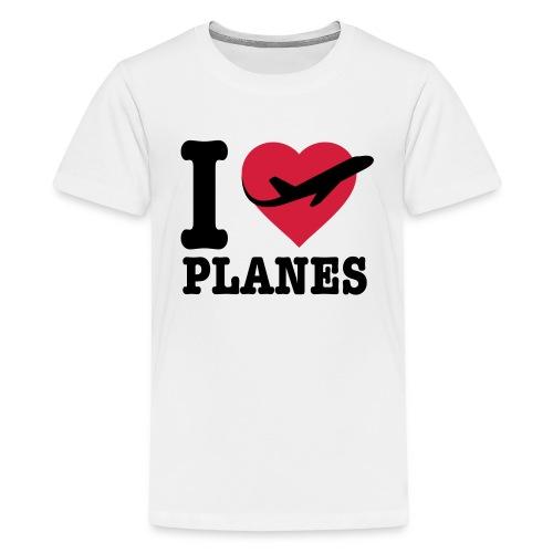 Rakastan lentokoneita - mustaa - Teinien premium t-paita