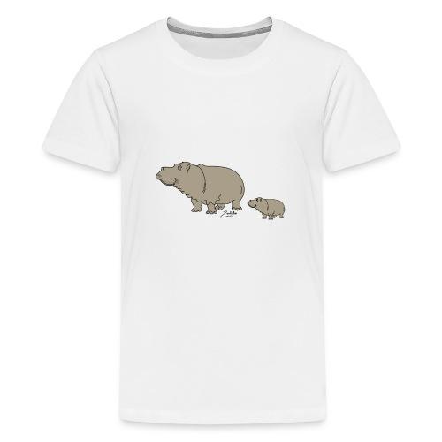 Hippo mit Baby - Teenager Premium T-Shirt