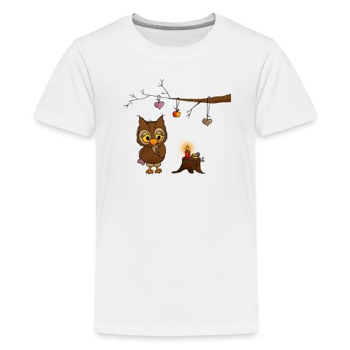 Eule feiert Weihnachten - Teenager Premium T-Shirt