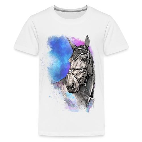 KOŃ GŁOWA akwarela z koniem horse - Koszulka młodzieżowa Premium