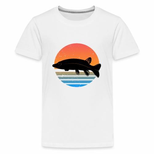 Retro Hecht Angeln Fisch Wurm Angler Raubfisch - Teenager Premium T-Shirt