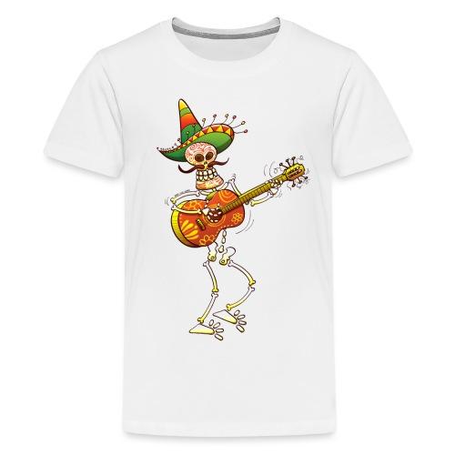 Mexican Skeleton Playing Guitar - Teenage Premium T-Shirt