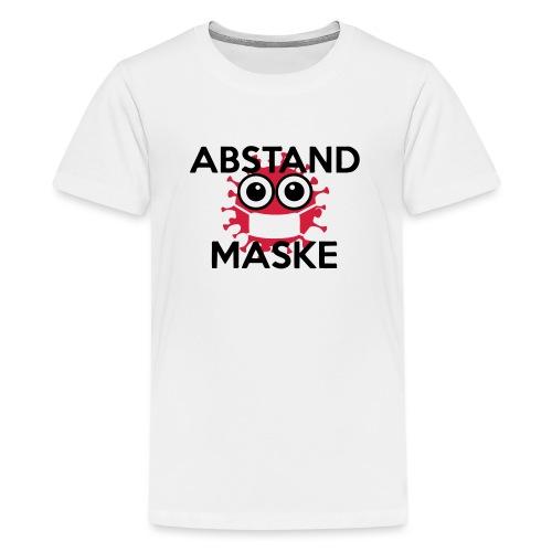 Mit Abstand und Maske gegen CORONA Virus - schwarz - Teenager Premium T-Shirt