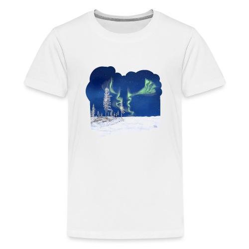 hiver avec des aurores boréales - T-shirt Premium Ado