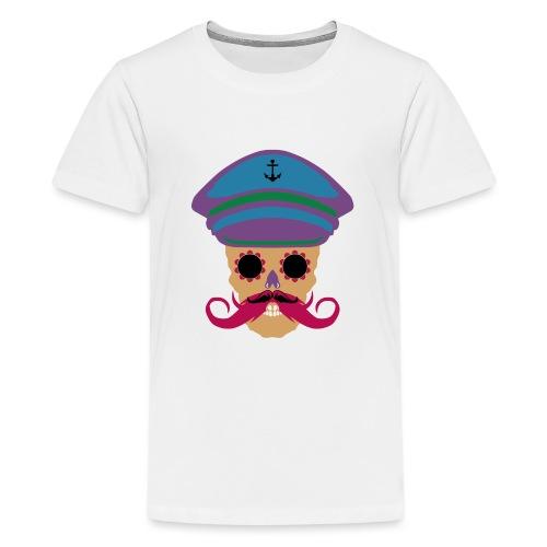 tete de mort fantaisie crane dessin kepi moustache - T-shirt Premium Ado