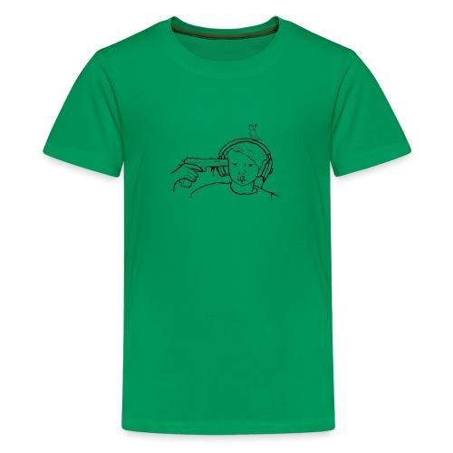 kys valkoinen - Teinien premium t-paita
