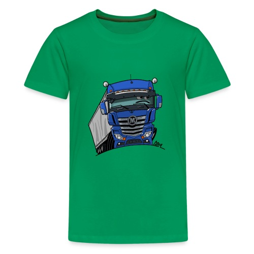 0807 M truck blauw trailer - Teenager Premium T-shirt