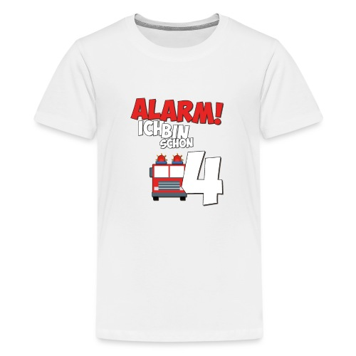 Feuerwehrauto 4. Geburtstag Jungen 4 Jahre - Teenager Premium T-Shirt