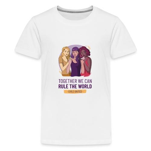 t shirt design generator featuring three women - Camiseta premium adolescente