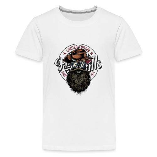 tete de mort crane hipster skull cowboy chapeau - T-shirt Premium Ado