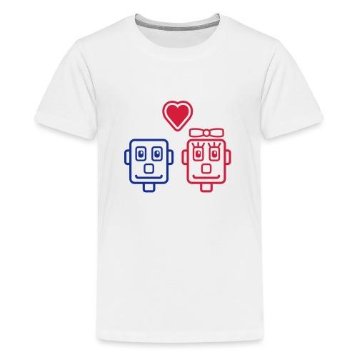 Motif Robots Amoureux - T-shirt Premium Ado