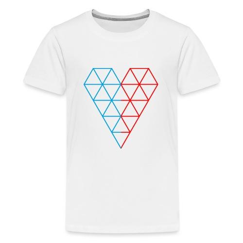 The Heart of Life x 1, Dual Polygon. - Teenage Premium T-Shirt