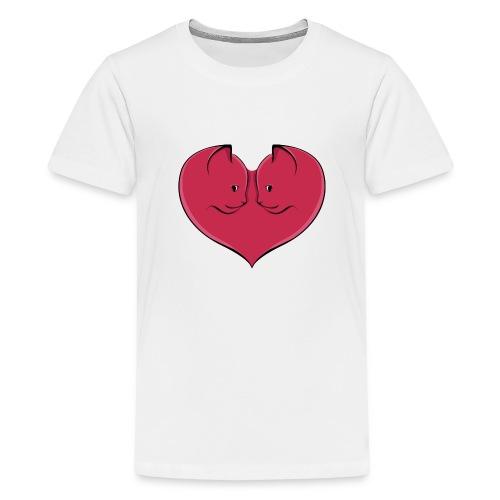 chat coeur - T-shirt Premium Ado