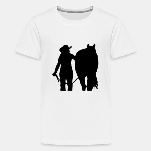 Westernreiterin mit Pferd individualisierbar - Teenager Premium T-Shirt