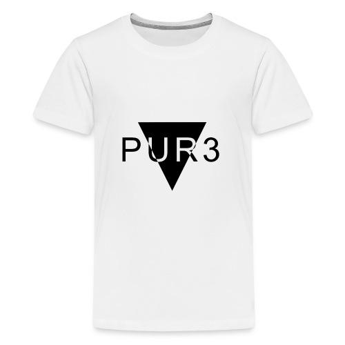 Pur3 grå hettegenser - Premium T-skjorte for tenåringer