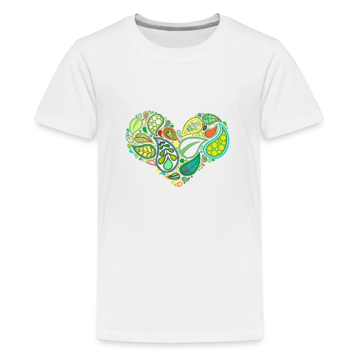 Green Leaf Heart Mandala - Teenage Premium T-Shirt