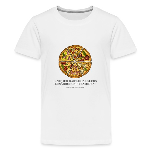 Ernährungspyramide aus Pizza - Teenager Premium T-Shirt