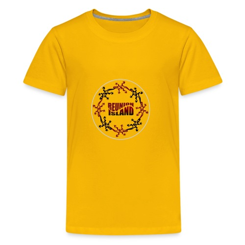 Badge Reunion Island Rouge - T-shirt Premium Ado