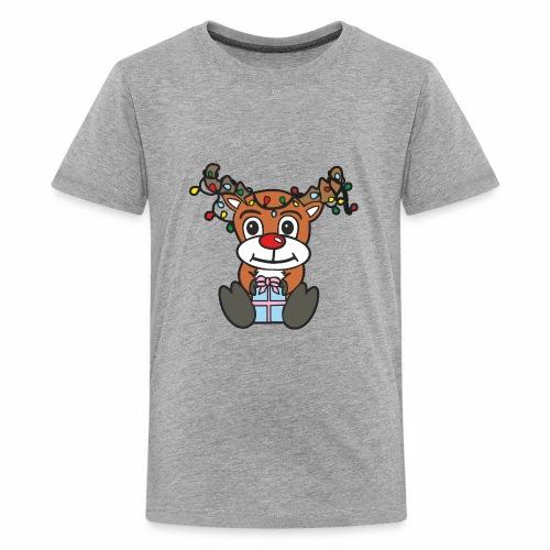 Rentier mit Lichterkette - Teenager Premium T-Shirt