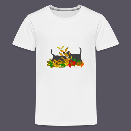spielende Katzen in bunten Blättern - Teenager Premium T-Shirt
