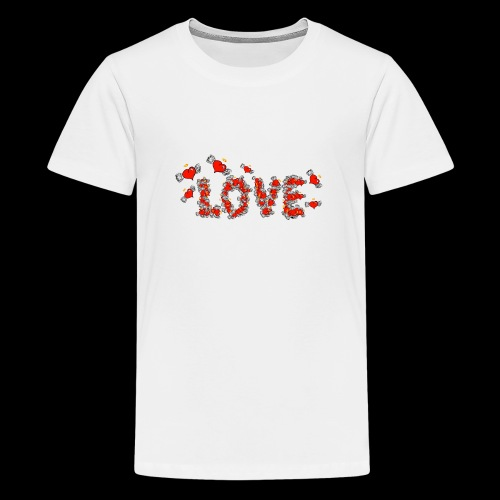 Flying Hearts LOVE - Teenage Premium T-Shirt