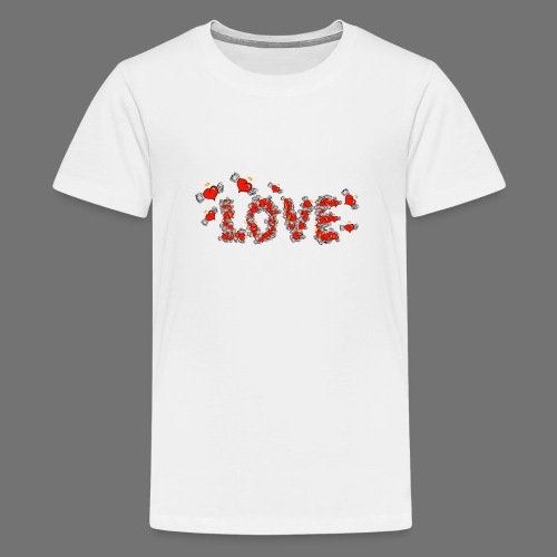 Flying Hearts LOVE - Teenage Premium T-Shirt