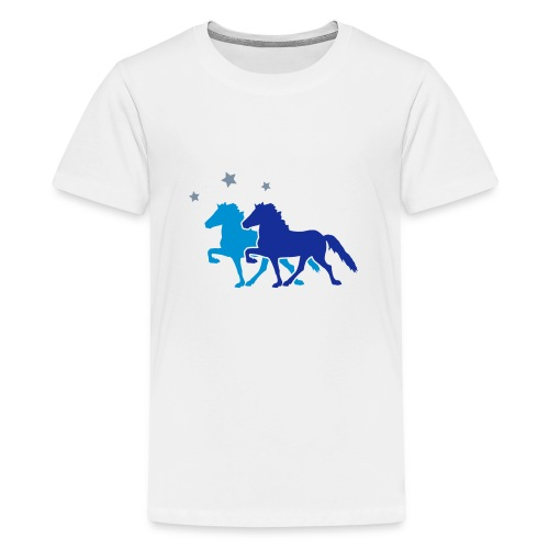Two Horses with silver-metallic Stars - Teenage Premium T-Shirt