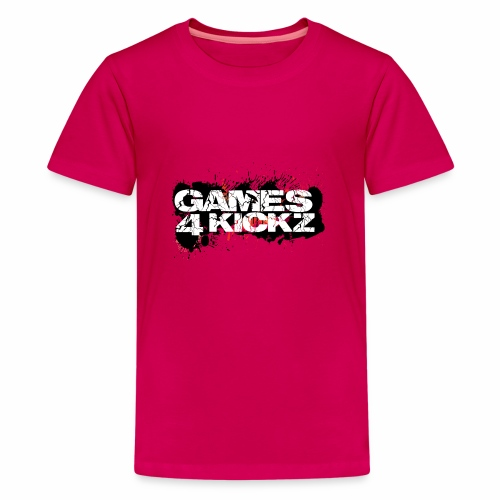 Games4Kickz Logo Splattered Background - Teenage Premium T-Shirt