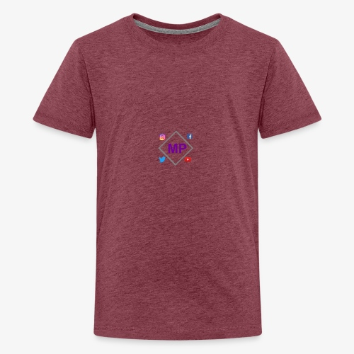 MP logo with social media icons - Teenage Premium T-Shirt
