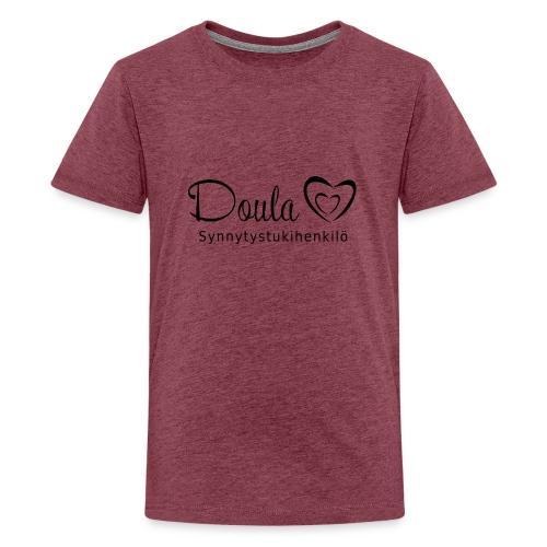 doula sydämet synnytystukihenkilö - Teinien premium t-paita
