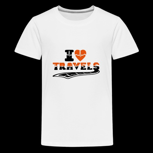 i love travels surprises 2 col - Teenage Premium T-Shirt