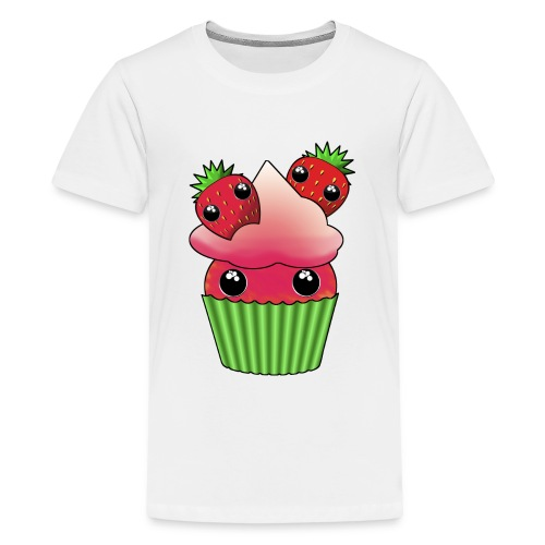 Cute strawberry kawaii cupcake - Teenage Premium T-Shirt