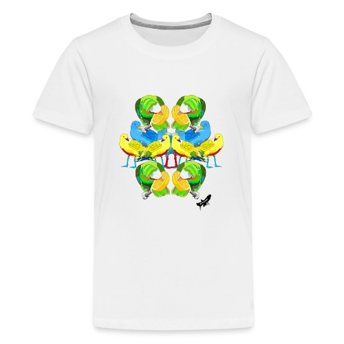 Birds Exotique by BlackenedMoonArts, w. logo - Teenager premium T-shirt