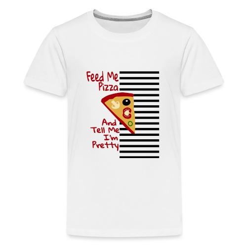 Nutri la mia pizza e dimmi che sono carina - Maglietta Premium per ragazzi