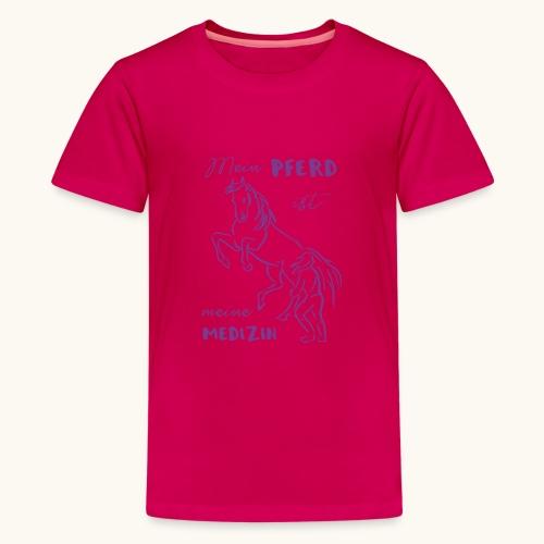 Mein Pferd ist meine Medizin lila Geschenk Spruch - T-shirt Premium Ado