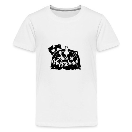 Alice in Nappyland TypographyWhite with background - Teenage Premium T-Shirt