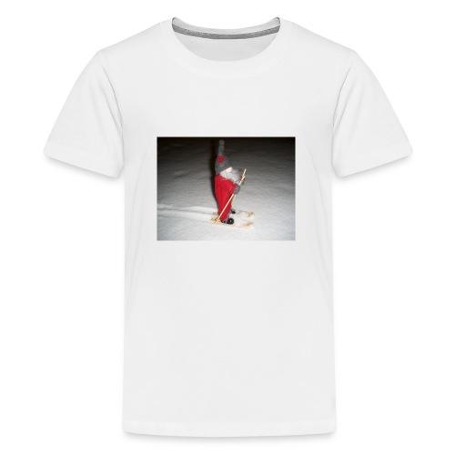 Joulutonttu hiihtämässä - Teinien premium t-paita