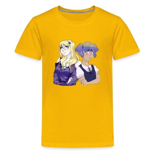 Sad-chan v1 & v2 Together - Arms Crossed - Teenage Premium T-Shirt