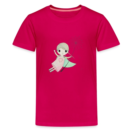 meisje aan uitgebloeide paardenbloem - Teenager Premium T-shirt