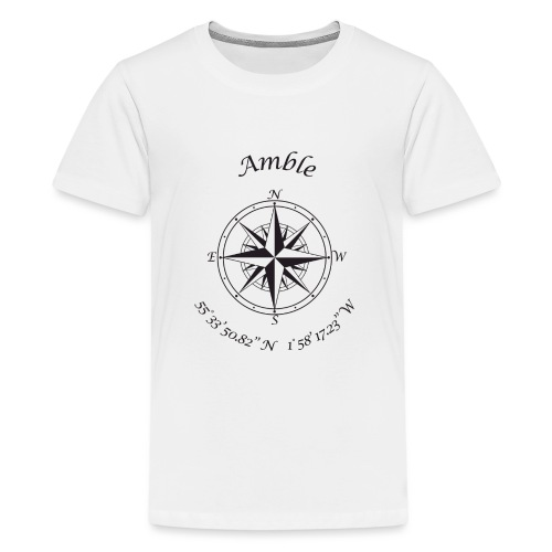 Amble, Northumberland Compass (black) - Teenage Premium T-Shirt