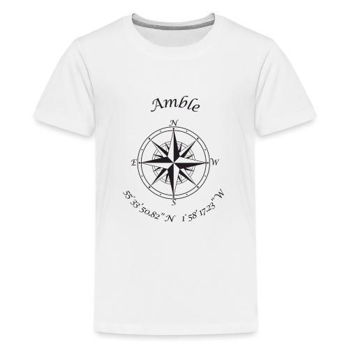 Amble, Northumberland Compass (black) - Teenage Premium T-Shirt