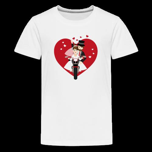 Brautpaar auf dem Motorrad - Rot - Teenager Premium T-Shirt