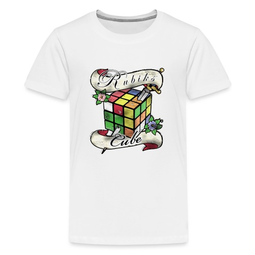 Rubik's Cube Tatoo - Teenage Premium T-Shirt