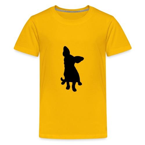 Chihuahua istuva musta - Teinien premium t-paita