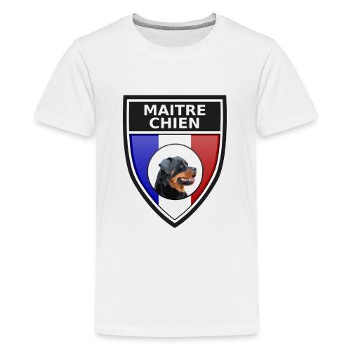 Ecusson noir maitre-chien rottweiller - T-shirt Premium Ado