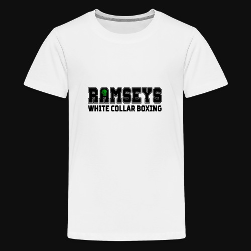 Ramseys White Collar Boxing Black Logo - Teenage Premium T-Shirt