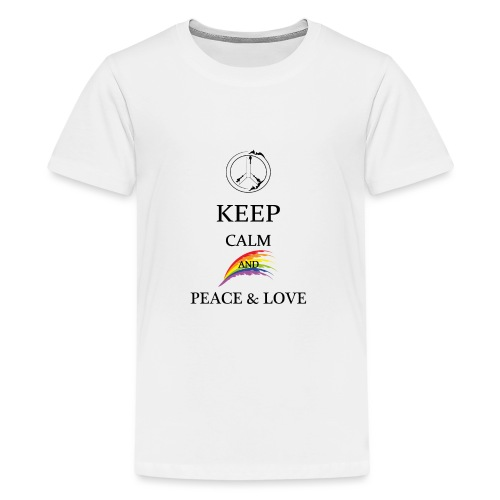 keep calm and Peace & Lov - Maglietta Premium per ragazzi